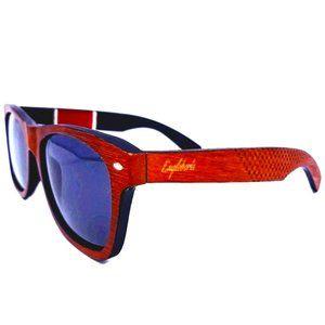 Red Stripe Two Tone Wooden Sunglasses, Polarized